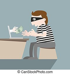 Thief stealing money by computer online
