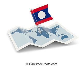Map with flag of laos