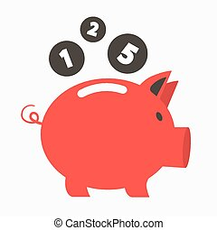 Money Vector Red Pig Bank with Coins