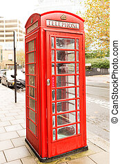 Famous classic English red telephone box