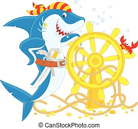 Pirate Shark - Great white shark with a pistol, a saber and...