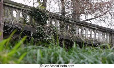 Old Balustrade with Barbed Wire 2 - Old Balustrade with...