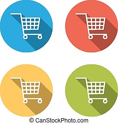 Collection of 4 isolated flat buttons (icons) for shopping cart