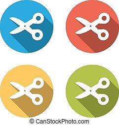 Collection of 4 isolated flat buttons (icons) for scissors
