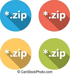 Collection of 4 isolated flat buttons (icons) for zip extension