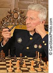 Military mature general - Military mature general at the...