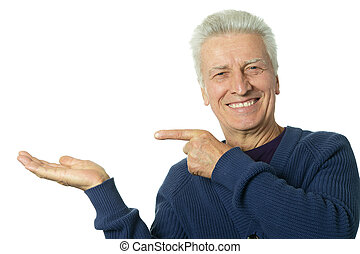 Mature man pointing with his finger on white background