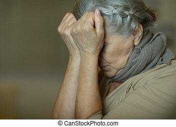 Sick elderly woman - Portrait of a sick elderly woman...