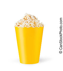 Popcorn in cardboard box on white background