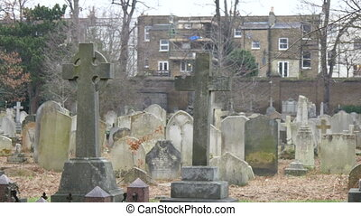 Many tombstones and gravestones found inside the cemetery in London