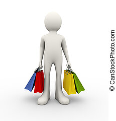 3d man and shopping bag - 3d illustration of man holding...
