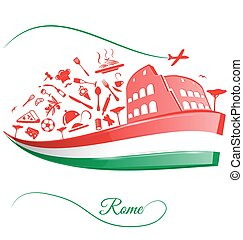 rome colosseum with food element on italian flag
