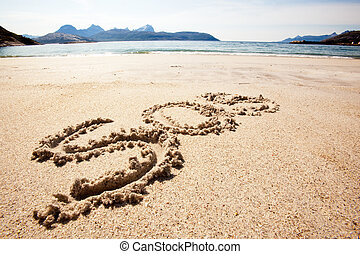 SOS - An SOS message in the sand on an island