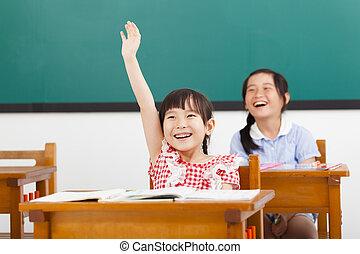 Schule, angehoben, Klasse, Hände, Kinder, glücklich
