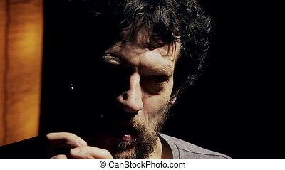 Closeup of sad desperate man - Portrait of sad man depressed...