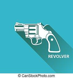vector vintage pistol gun icon on blue