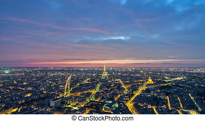 View of Paris and Eiffel Tower from Montparnasse tower timelapse twilight, France