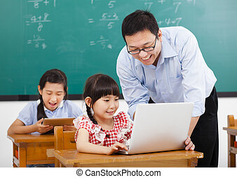 teacher teaching the computer with children  in classroom