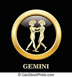 Gemini zodiac sign in circle frame - Gemini zodiac sign in...