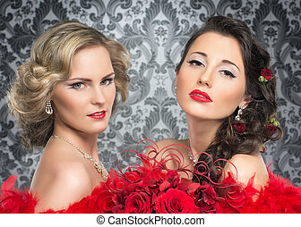 Young, beautiful and emotional cabaret artists over vintage...