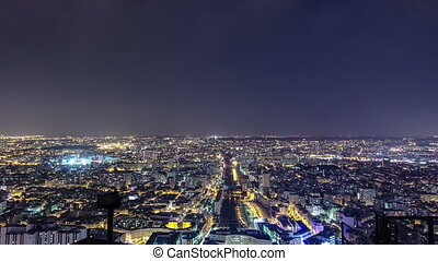 The city skyline at night. Paris, France. Taken from the tour Montparnasse timelapse