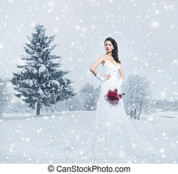 Young and beautiful bride standing with the flower bouquet over