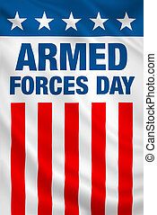 Armed Forces Day USA holiday vertical patriotic flag banner....