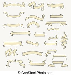 Vector set of ribbon banner shapes in vintage style