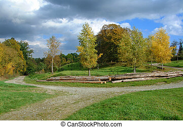 Rural idyll on a glade in autumn