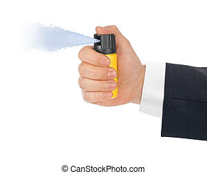 Hand with bottle of pepper spray