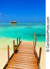 ????? bungalow on Maldives island - nature travel background