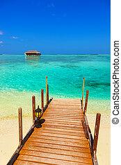 ????? bungalow on Maldives island - nature travel background