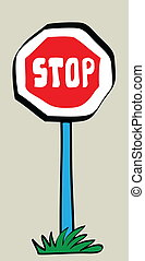 cartoon stop road traffic sign