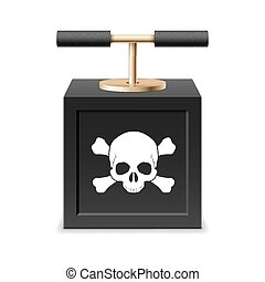 Detonating fuse - Black detonating fuse with a skull and...