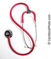 Phonendoscope -   Red  phonendoscope on a white background