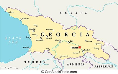 Georgia Political Map with capital Tbilisi, with national...