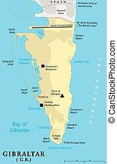 mapa, político,  Gibraltar