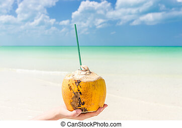 Tropical coconut on hand against background of turquoise sea
