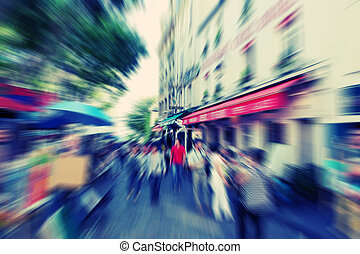 Abstract background Boulevard Montmartreon in Paris - radial...