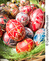 nicely decorated easter eggs - Traditional romanian...