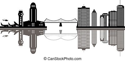 montreal canada city skyline black and white with bridge and...