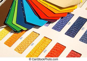 cor, padrões,  -, tecido, cartão