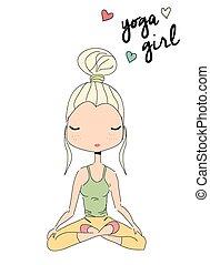 Yoga girl sitting in lotus pose, hand drawn