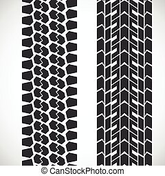 Tread pattern tyre. Vector set of detailed tire prints.