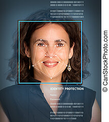 Biometrics, female - Female face with lines from a facial...