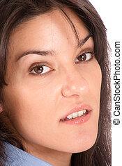 Close-up portrait of a brunette