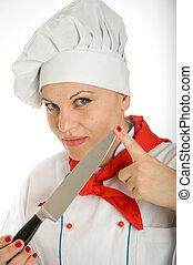 Female chef holding kitchen knife - Portrait of a female...