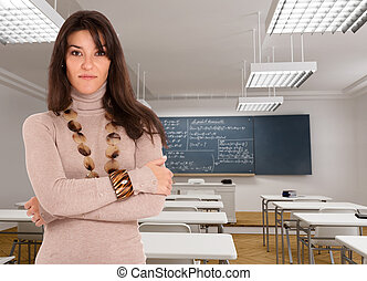 Young brunette in a classroom