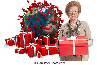 Mature lady with gifts in world celebration - Elegant mature...