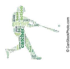 Baseball batter hits the ball, green letters on white...